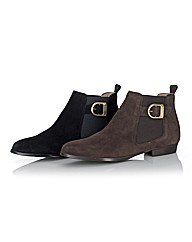 Cefalu Suede Buckle Trim Ankle Boots