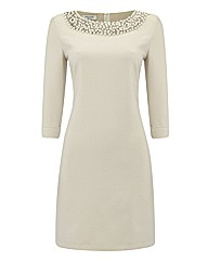 Apanage Pearl Collar Shift Dress