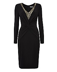 Gina Bacconi Embellished Jersey Dress