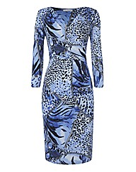 Gina Bacconi Animal Jersey Wrap Dress