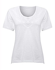 Gray & Osbourn Crochet-trim Jersey Top