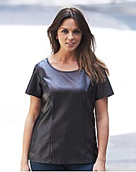 Leather Look Fronted T Shirt