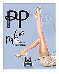 Pretty Polly Gloss Lace Top Hold Ups Pk2