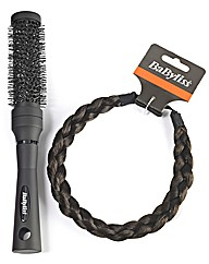 Babyliss Brown Braided Headband & Brush