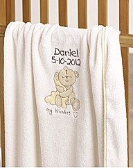 Personalised Button Corner Baby Blanket