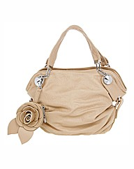 Rose Detail Nude Bag & Purse Set