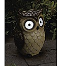 Solar Powered Bright Eyed Ceramic Owl