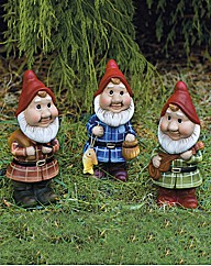 Hand Painted Ceramic Moving Gnomes Pk3