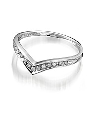 9ct White Gold Diamond Wishbone Ring