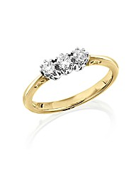 9ct Gold 1/4ct Trilogy Diamond Ring