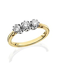 9ct Gold 1/2ct Trilogy Diamond Ring