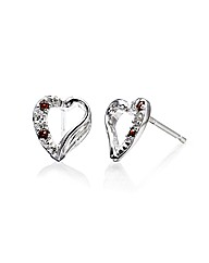 9ct White Gold Gemstone Heart Earrings