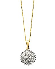 9ct Gold 1/2ct Diamond Cluster Pendant