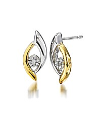 9ct Gold Two-Tone Diamond-Set Earrings