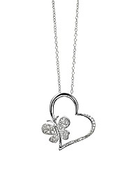 Sterling Silver Diamond-Set Love Pendant