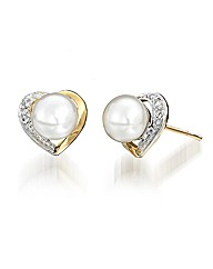 9ct Gold Pearl and Diamond-Set Earrings