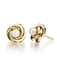 9ct Gold Pearl Crossover Earrings