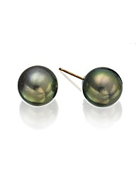 9ct Gold South Sea Black Pearl Earrings