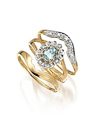 9ct Gold Three Piece Blue Topaz Ring Set