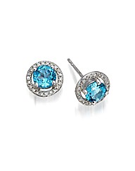 9ct White Gold Blue Topaz Earrings
