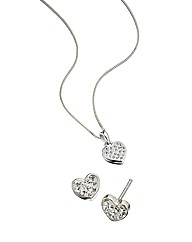 Sterling Silver Heart Pendant & Earrings