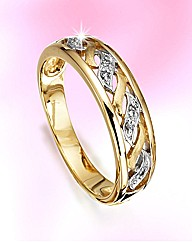 9ct Gold Diamond-Set Wave Ring