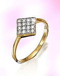9ct Gold Diamond-Set Square Cluster Ring