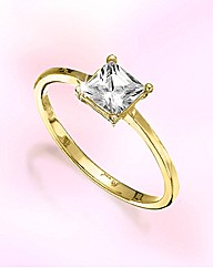 9ct Gold Cubic Zirconia Princess Ring
