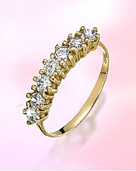9ct Gold 7 Stone Cubic Zirconia Ring
