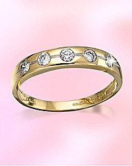 9ct Gold 5 Stone Cubic Zirconia Ring
