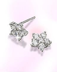 9ct White Gold Flower-Shaped Earrings