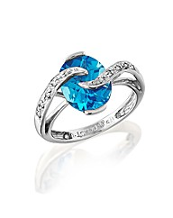 9ct White Gold Blue Topaz & Diamond Ring