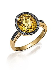 9ct Gold Citrine and Black Diamond Ring