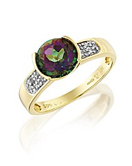 9ct Gold Mystic Topaz and Diamond Ring