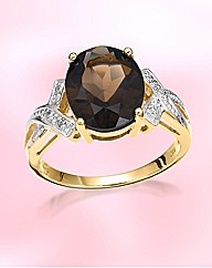 9ct Gold Smoky Quartz & Diamond Ring