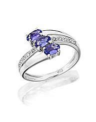 9ct White Gold 3 Stone Tanzanite Ring