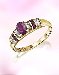 9ct Gold Ruby & Diamond-Set Ring