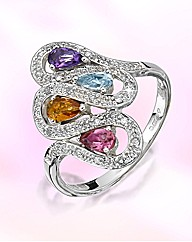 9ct White Gold Multi-Stone Ring