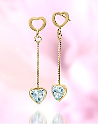 9ct Gold Gem Stone Heart Drop Earrings