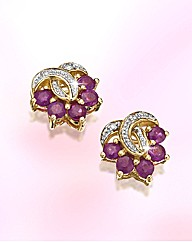 9ct Gold Gem Stone Stud Earrings