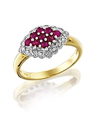 9ct Gold Gem Stone and Diamond-Set Ring