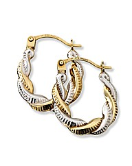 9ct Gold 2-Colour Twist Hoop Earrings