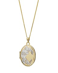 9ct Gold Two-Tone Flower Locket Pendant