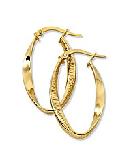 9 Carat Gold Twisted Hoop Earrings