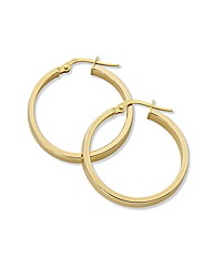 9ct Gold Hollow Tubular Hoop Earrings
