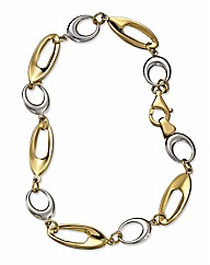 9ct Gold Two-Colour Oval Link Bracelet