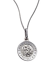 9ct White Gold Saint Christopher Pendant