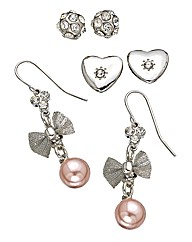 Lipsy Set of 3 Sparkly Earrings