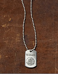 Silver Saint Christopher Dog-Tag Pendant
