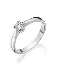 18ct White Gold 1/4ct Round-Cut Ring